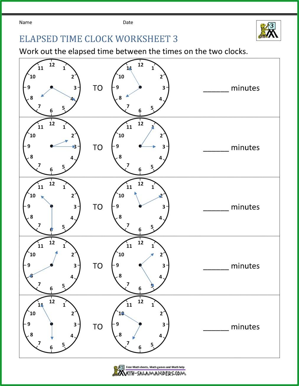 Elapsed Time 3rd Grade Worksheets Pdf