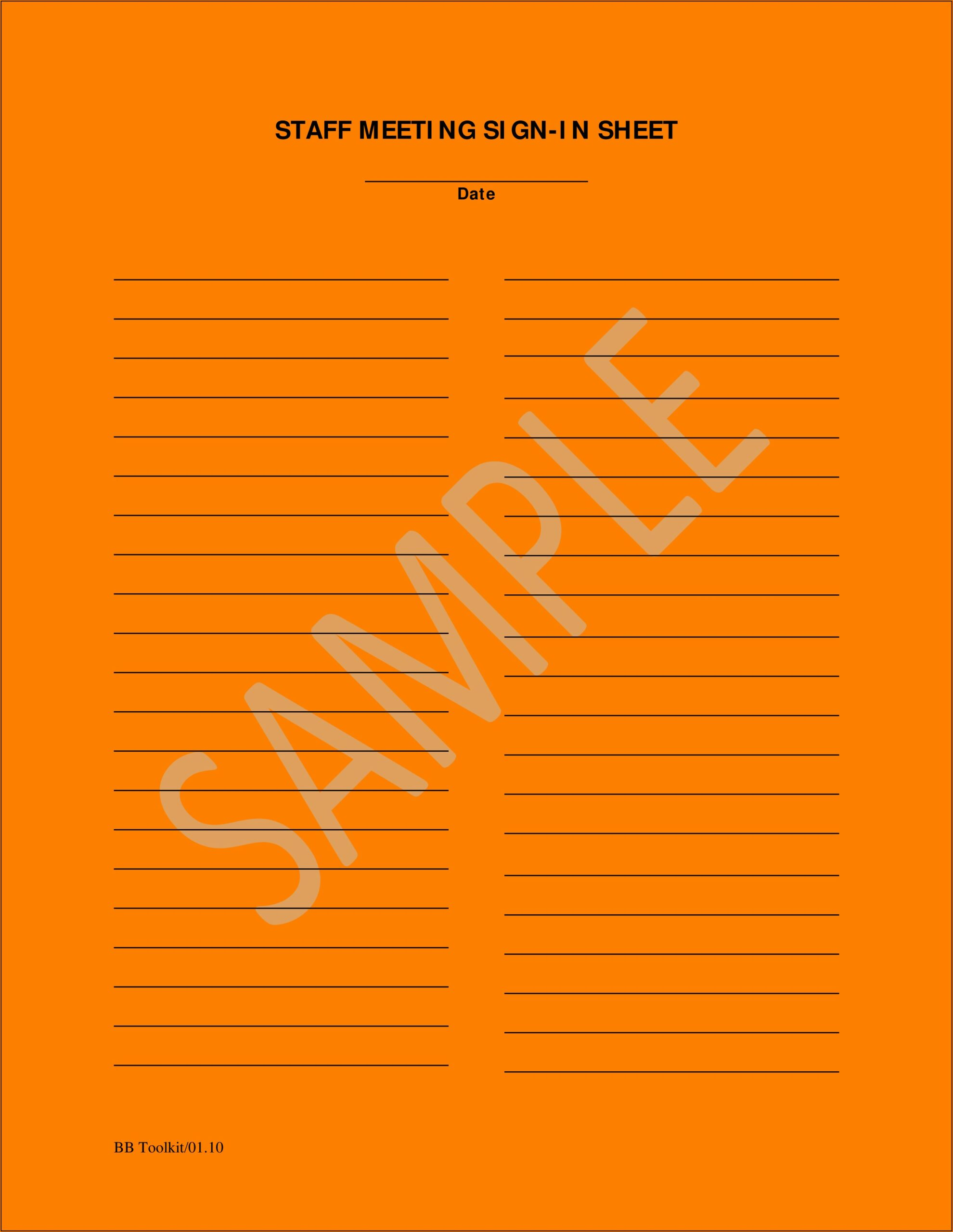 Employee Meeting Sign In Sheet Template