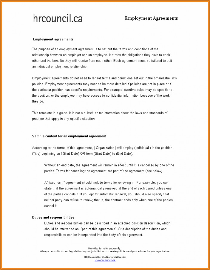 Employment Contract Template South Africa Word Document