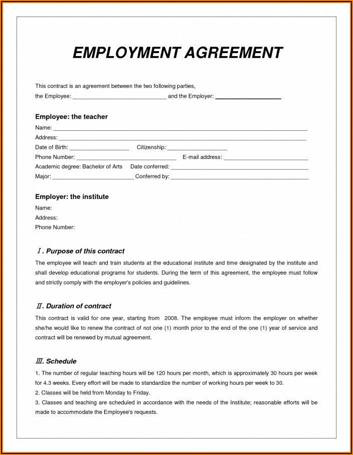 Employment Contract Template Western Australia