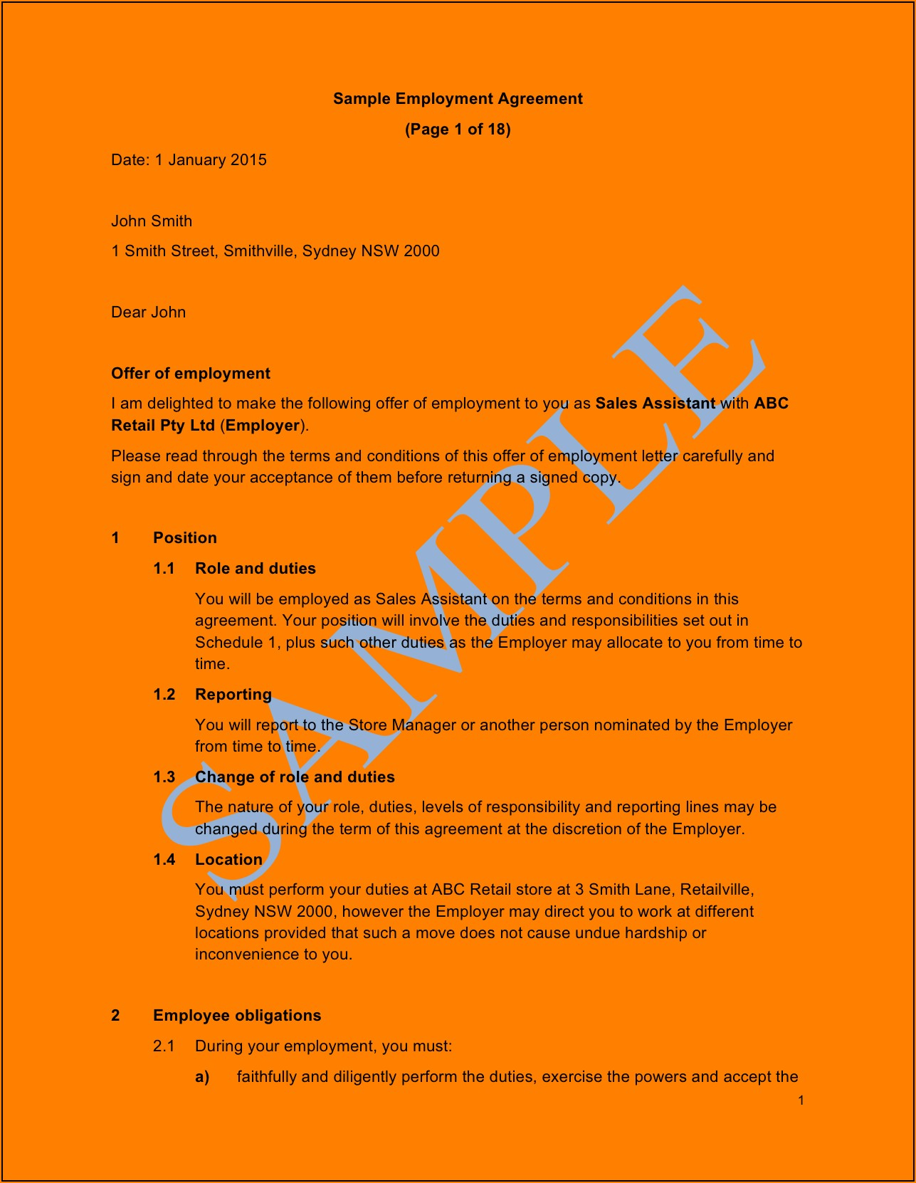 Employment Contract Variation Template Australia