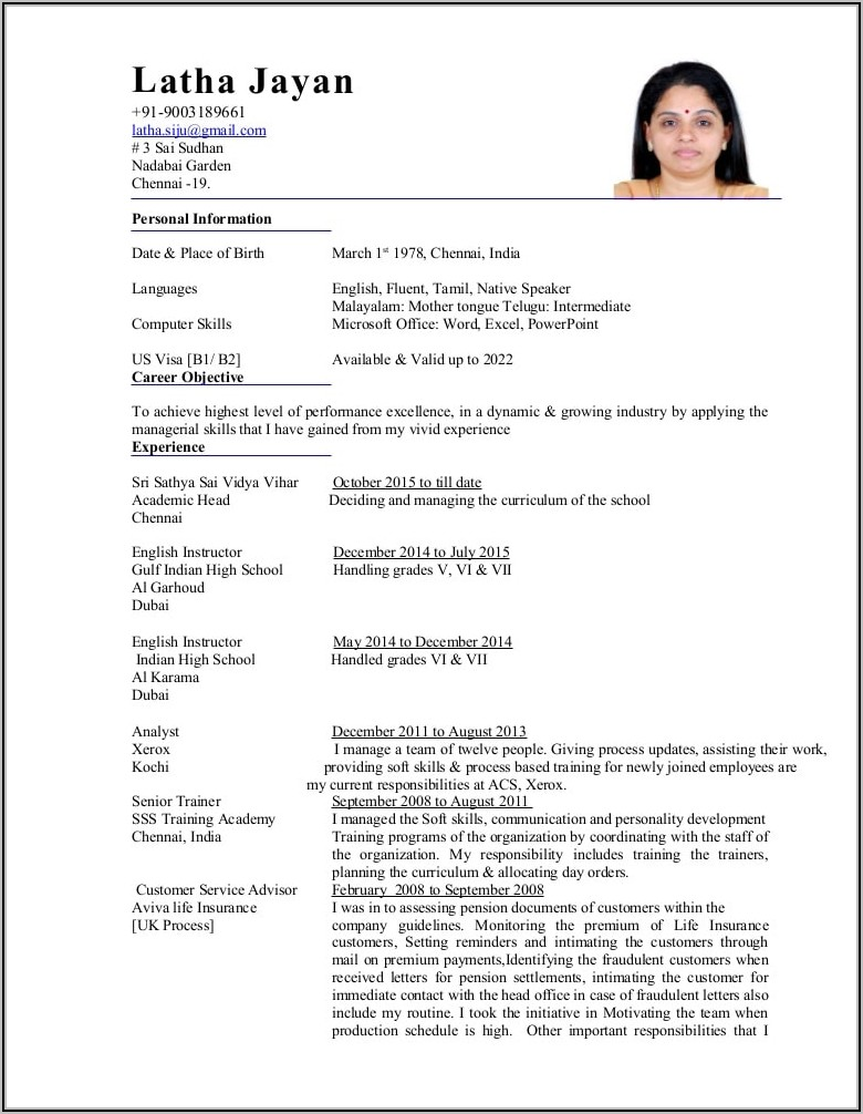 English Teacher Resume Format In Word Free Download