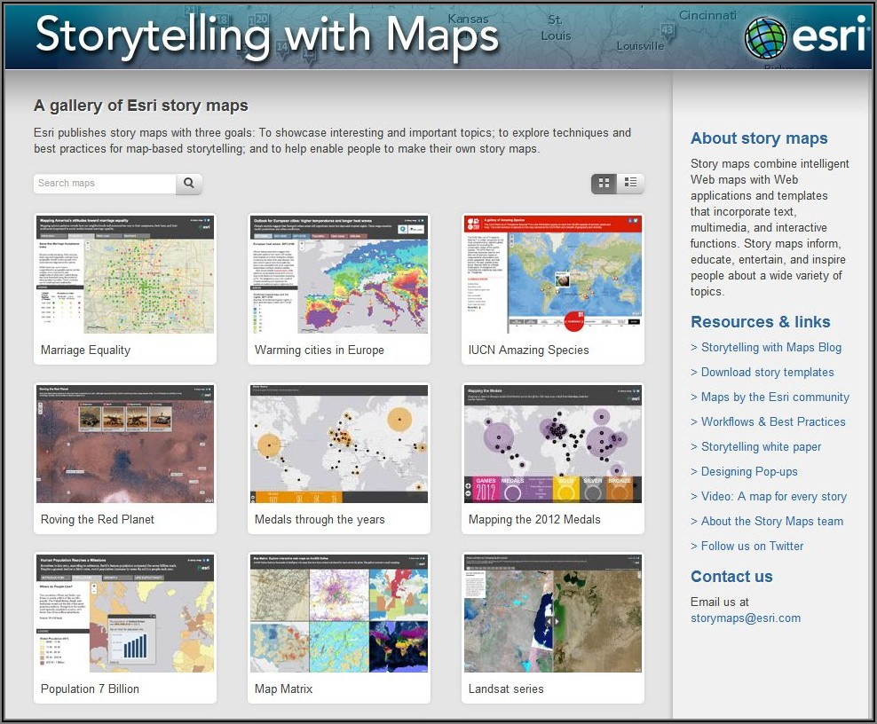 Esri New Story Map Template