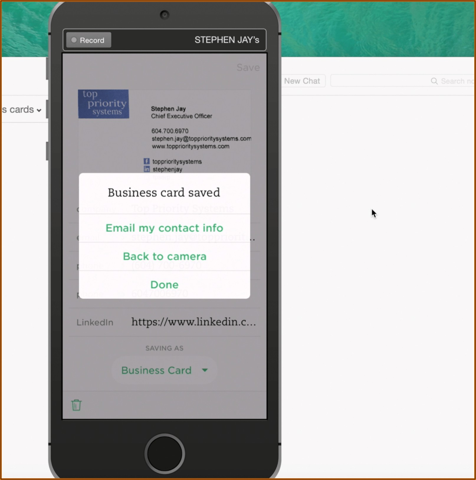 Evernote Business Card Scan