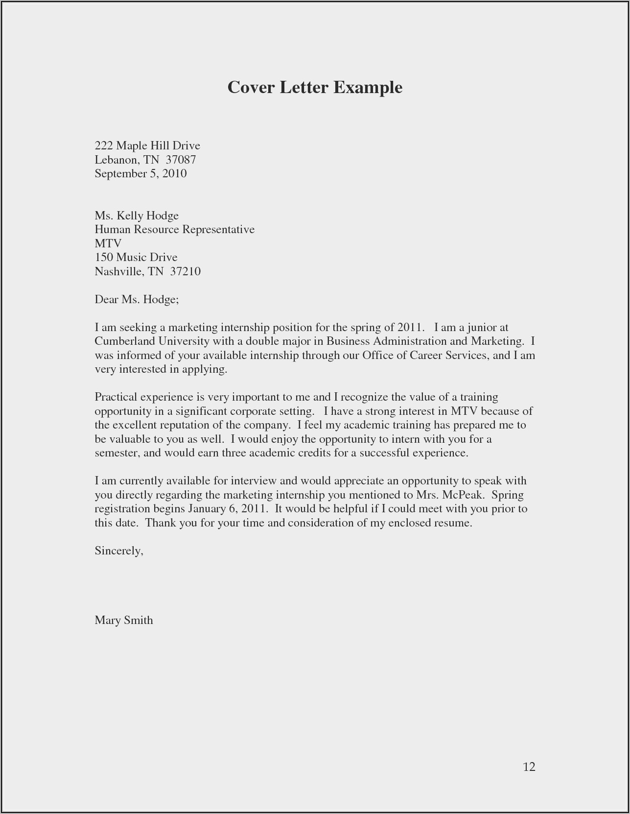 Examples Of A Simple Resume Cover Letter