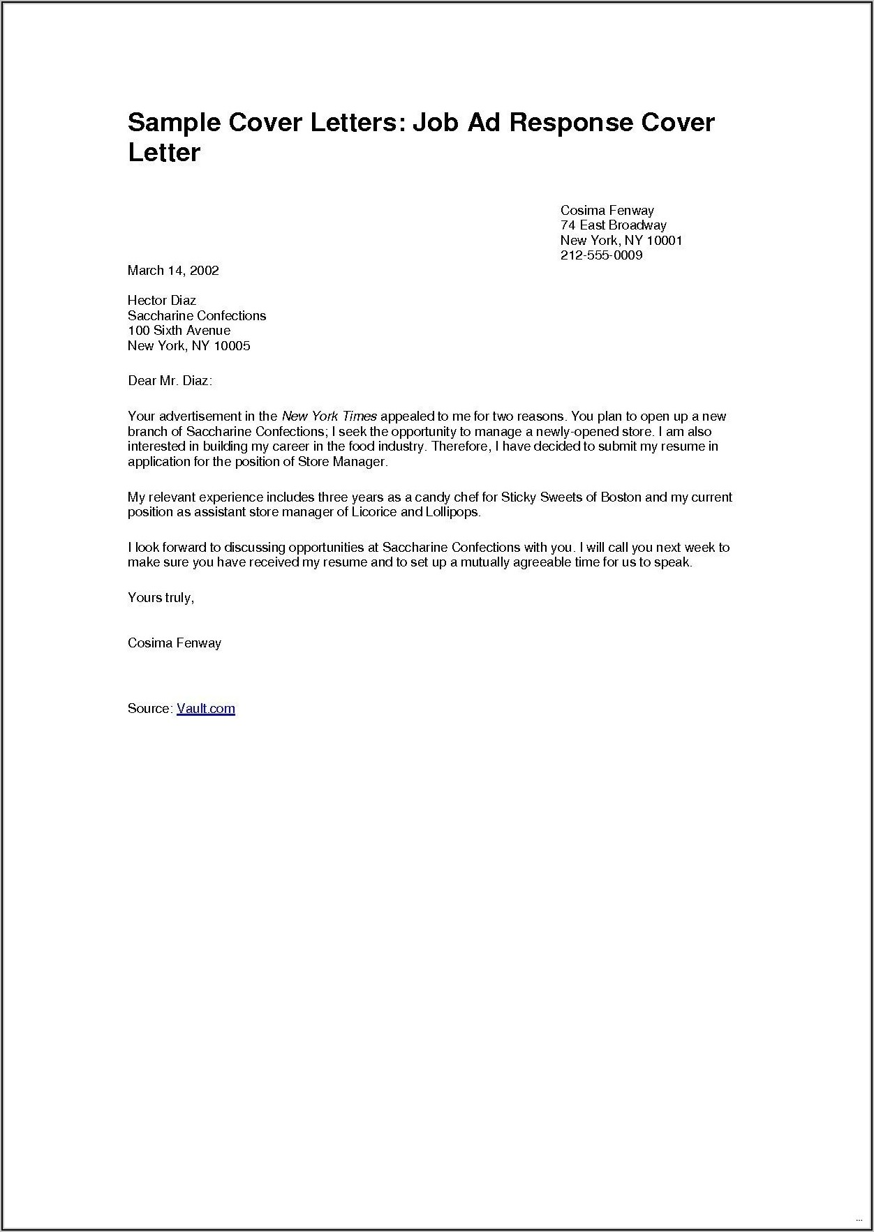 Examples Of Simple Resume Cover Letters