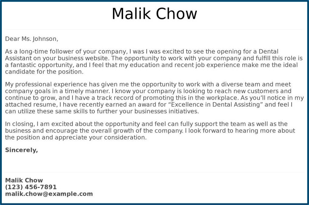 Experienced Dental Assistant Cover Letter