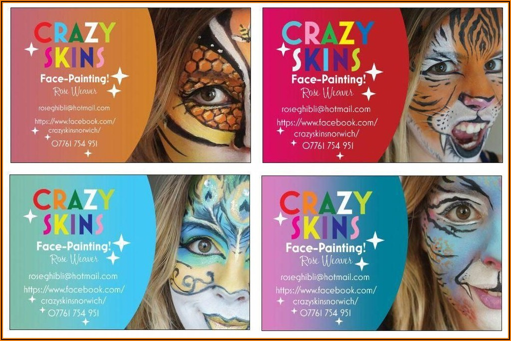 Face Painting Business Card Design