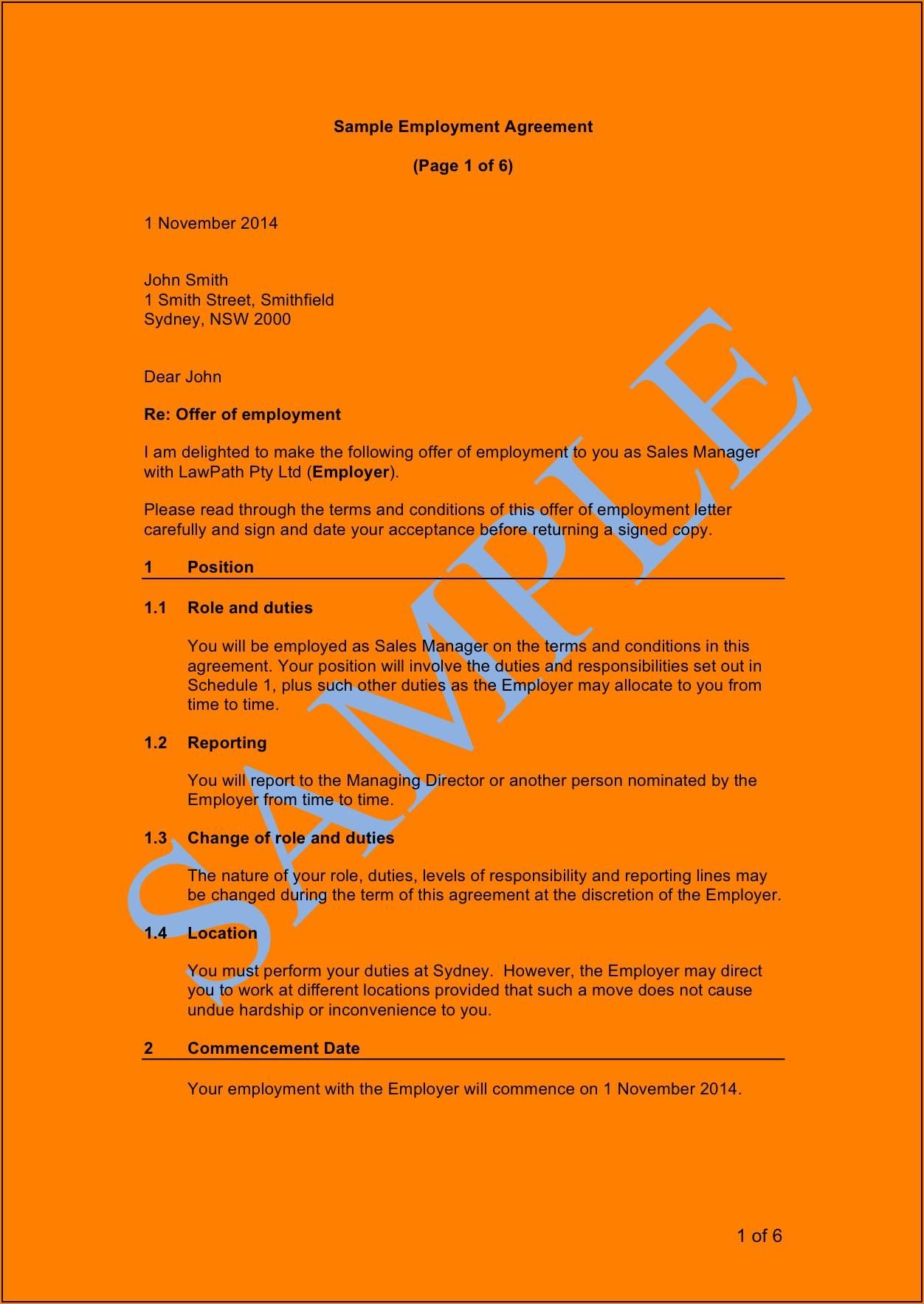 Fair Work Australia Employment Contract Template