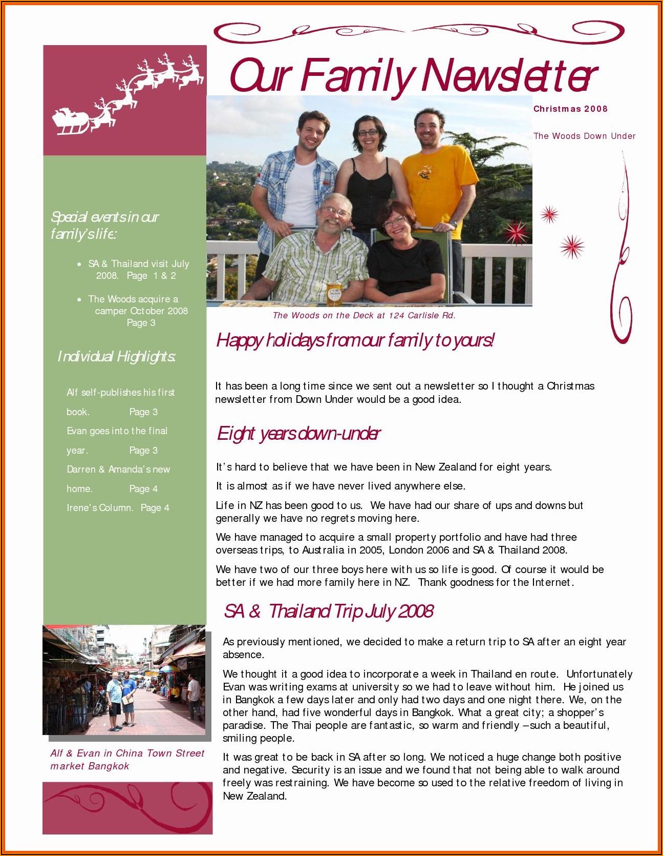 Family Newsletter Template Microsoft Word