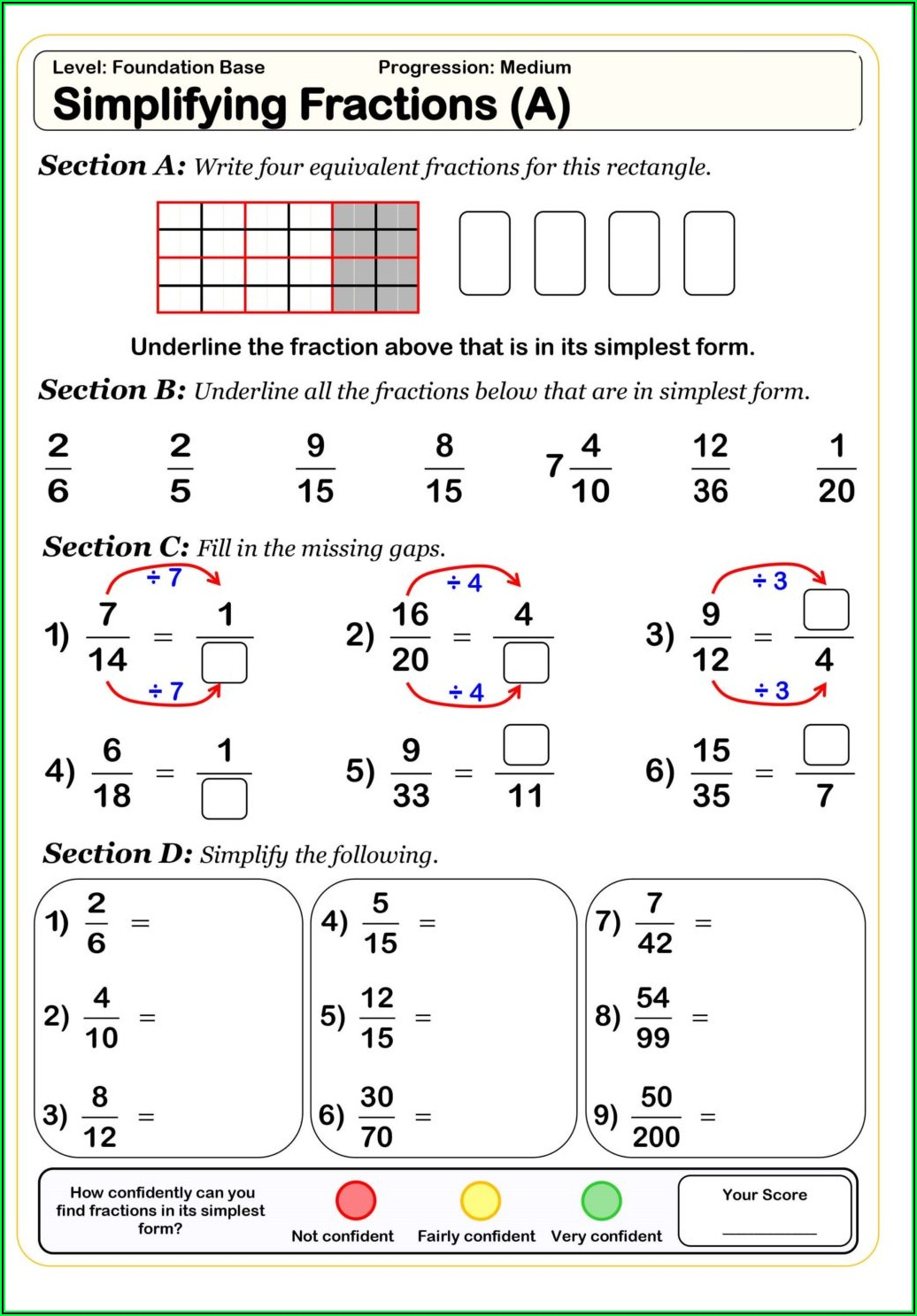 Fifth Grade Math Worksheets Fractions