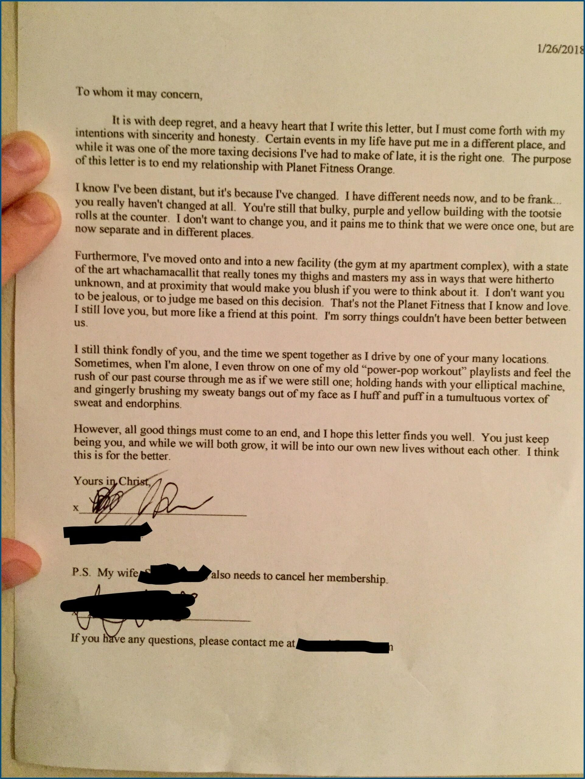 Form Planet Fitness Cancellation Letter Pdf
