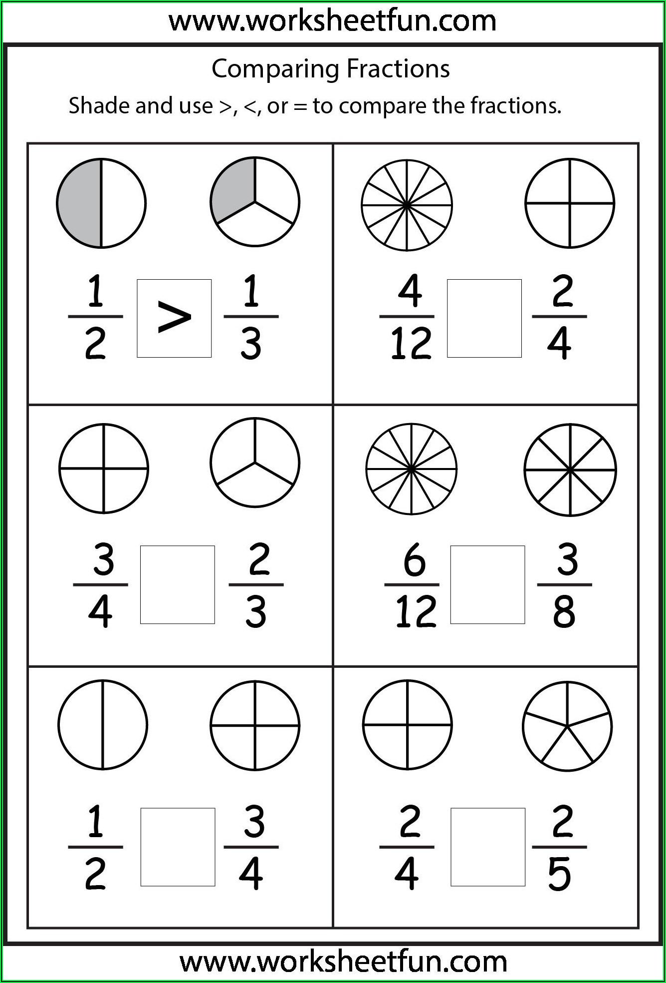 Fractions Worksheets Third Grade