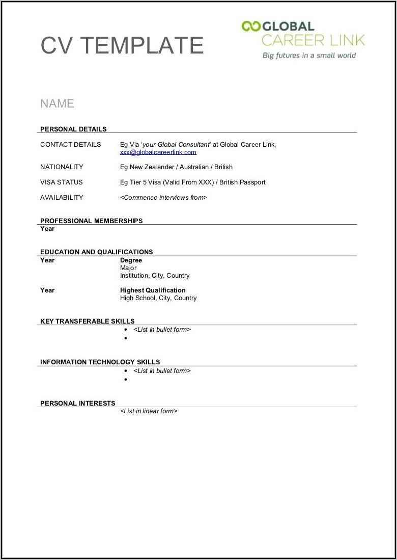 Free Blank Resume Template Word