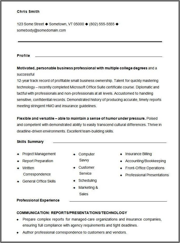 Free Core Functional Resume Template For Word