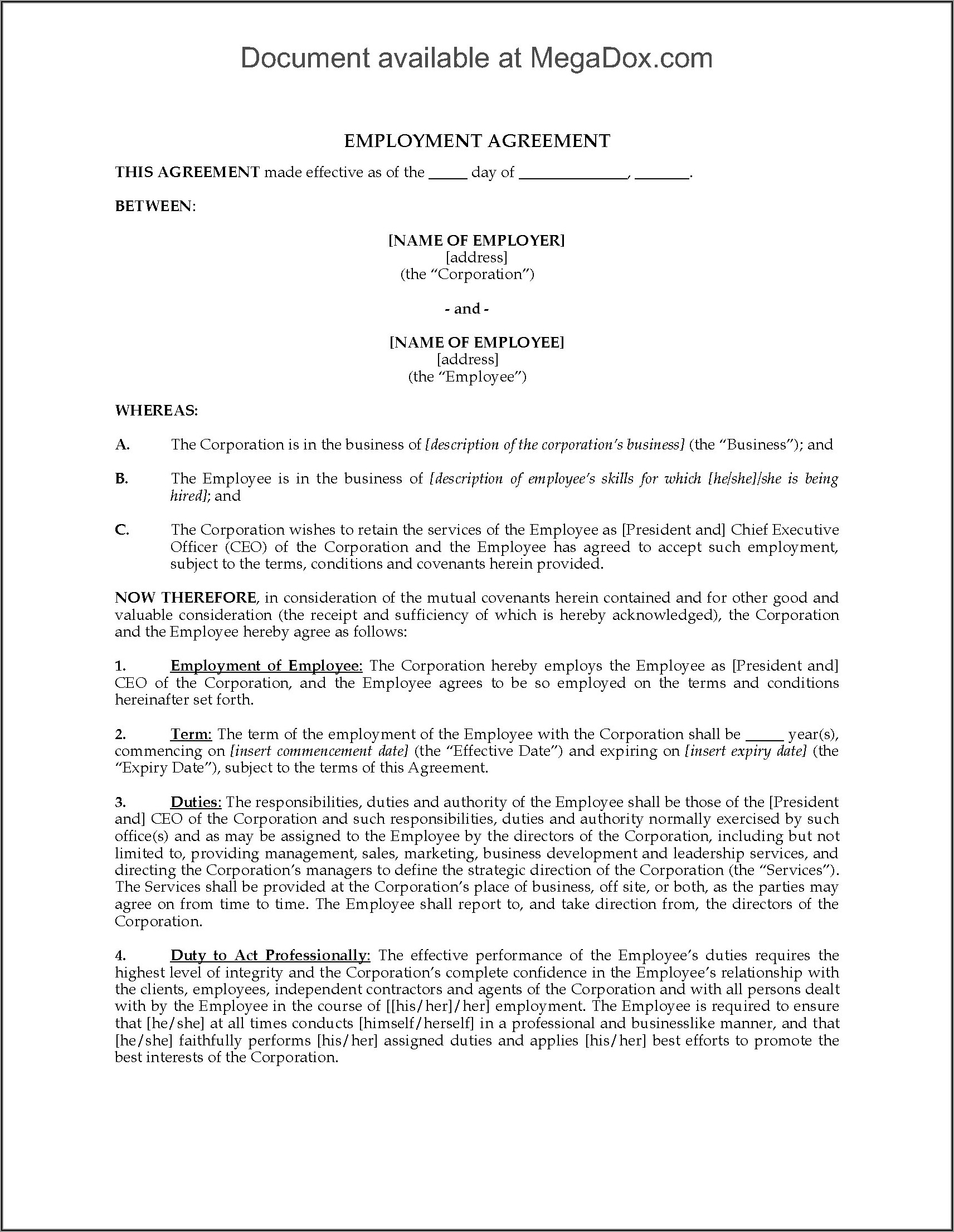 Free Employment Contract Template Word