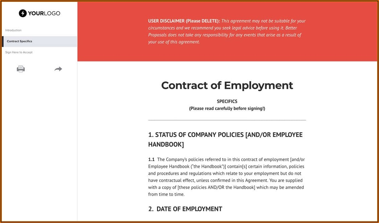 Free Employment Contracts Template Uk