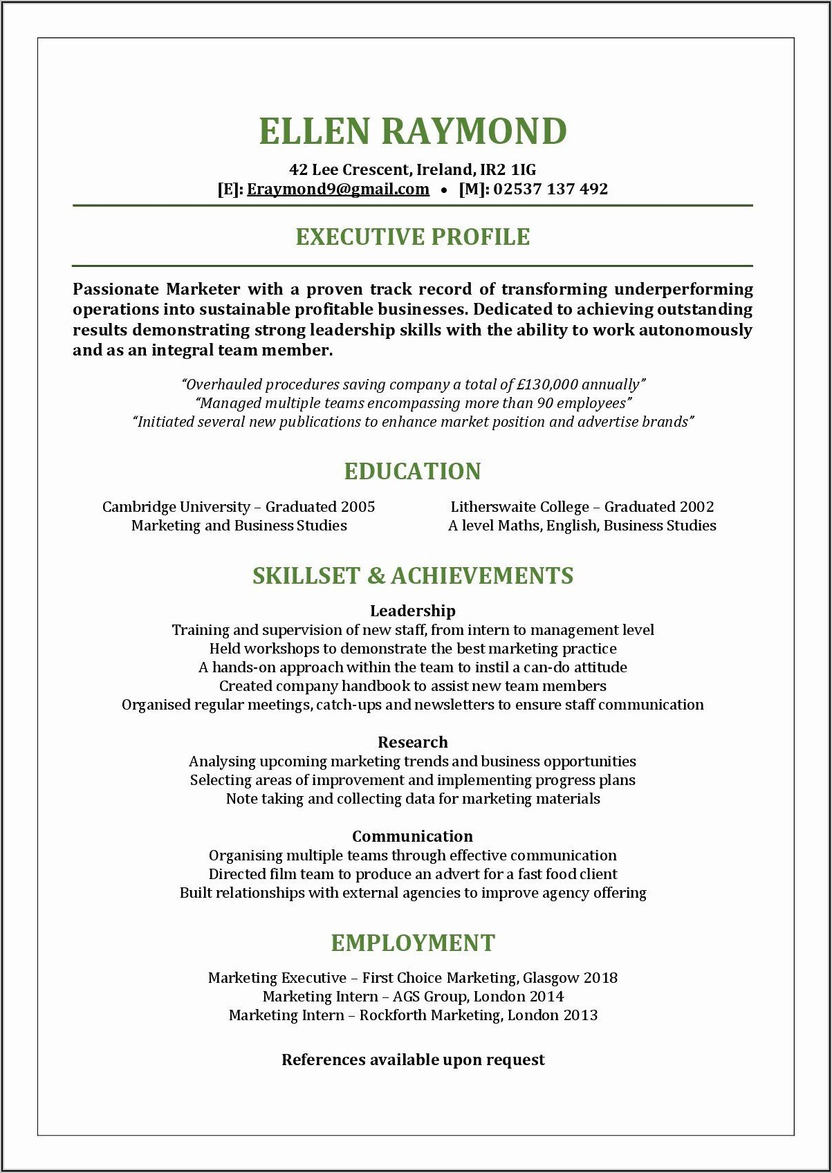 Free Functional Resume Template 2020