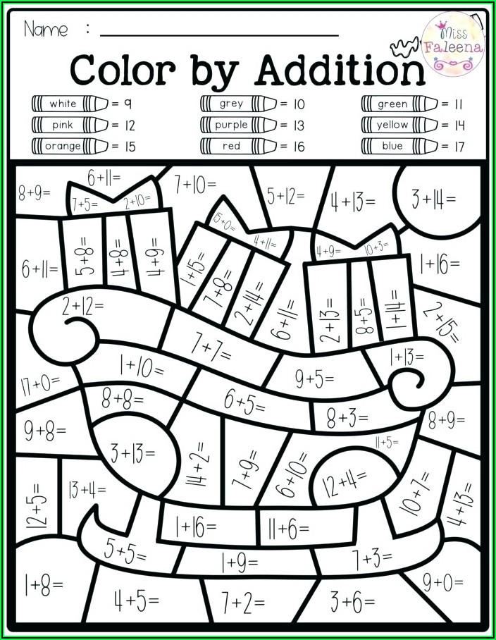 Free Halloween Math Coloring Worksheets