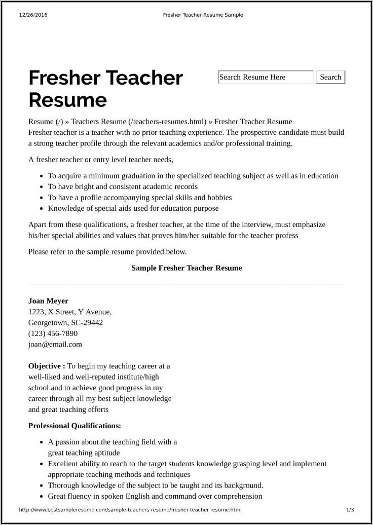 Free Preschool Teacher Resume Templates