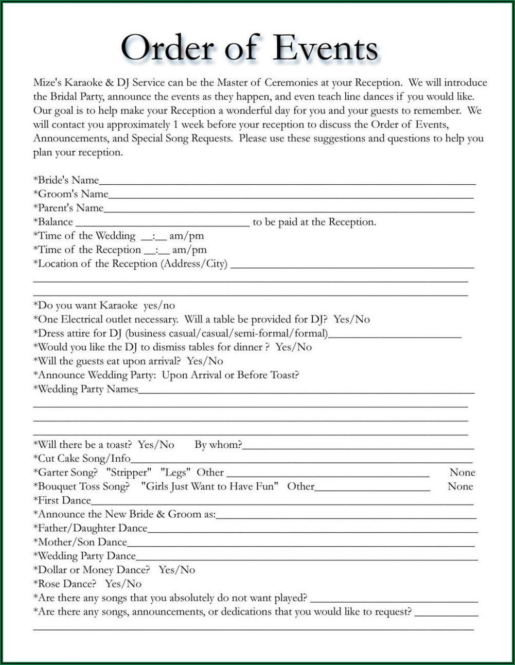Free Printable Wedding Day Timeline Template