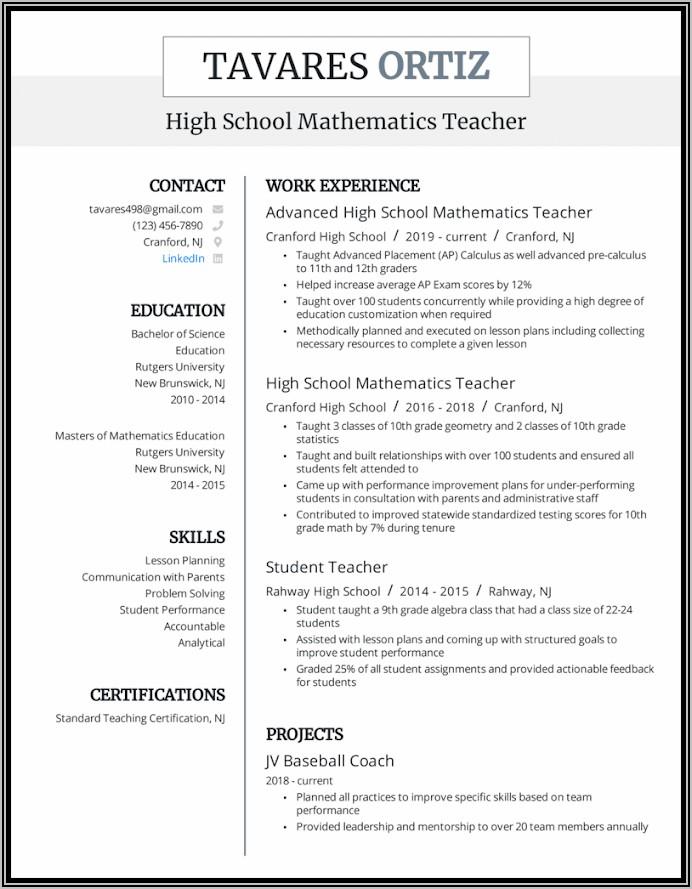 Free Teacher Cv Template