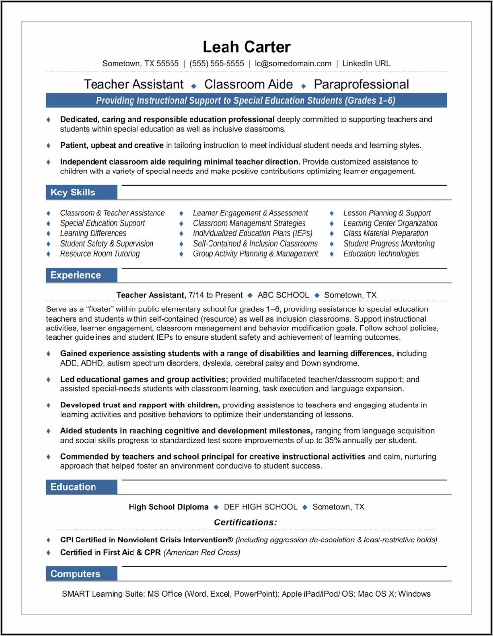 Free Teacher Resume Templates 2019