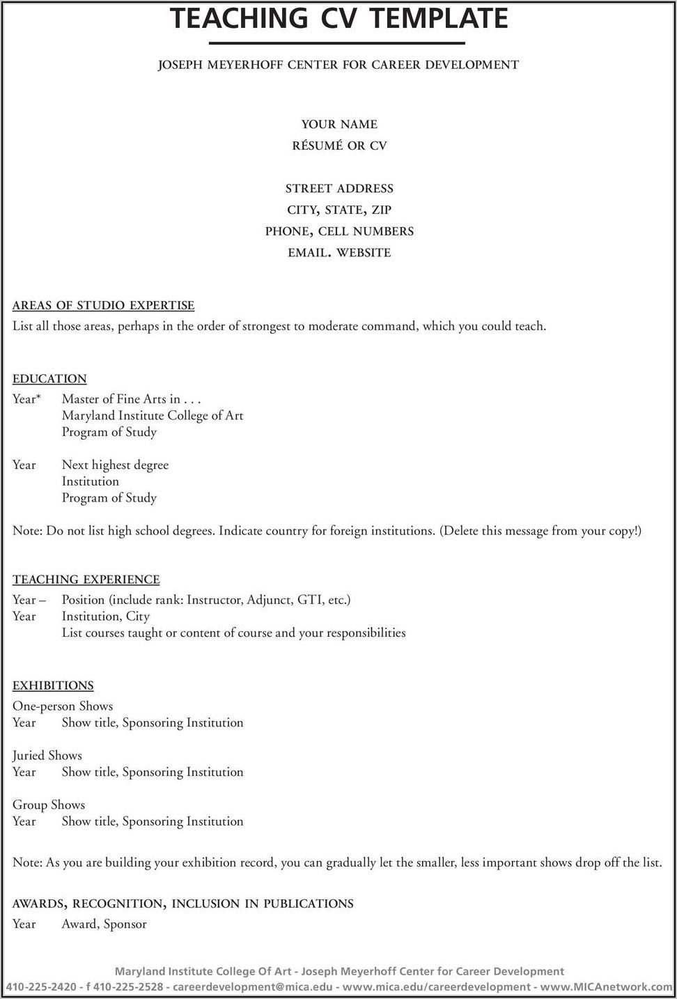 Free Teaching Cv Template Download
