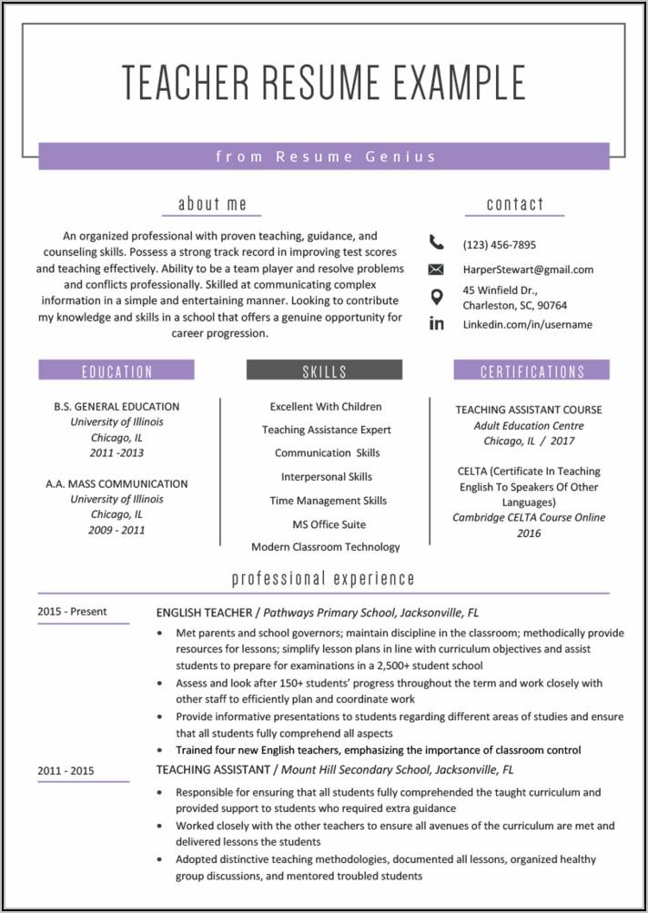 Free Teaching Resume Templates
