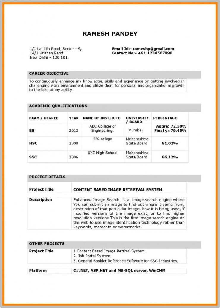 Fresher Teacher Resume Format In Word Free Download