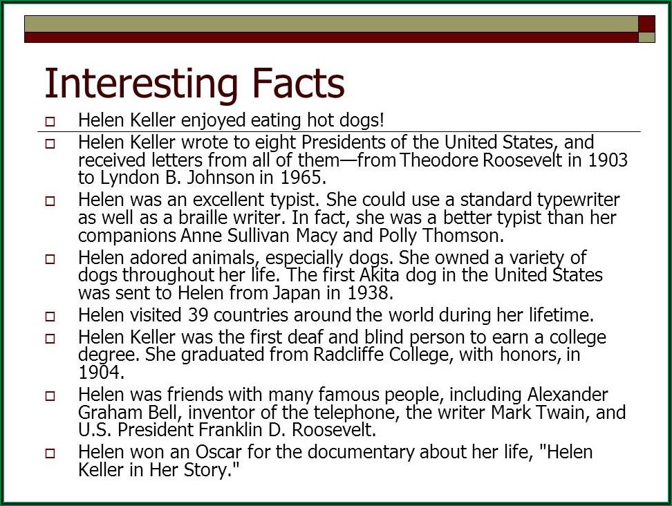 Helen Keller Facts Timeline