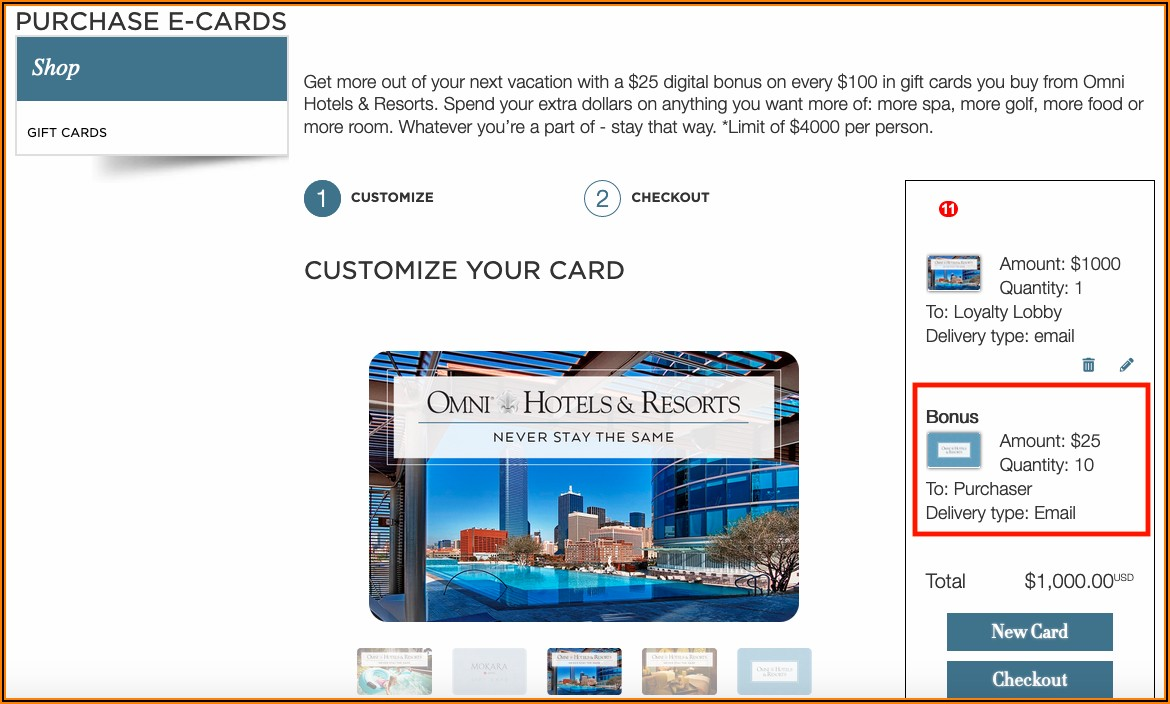 Hilton Honors Business Gift Card