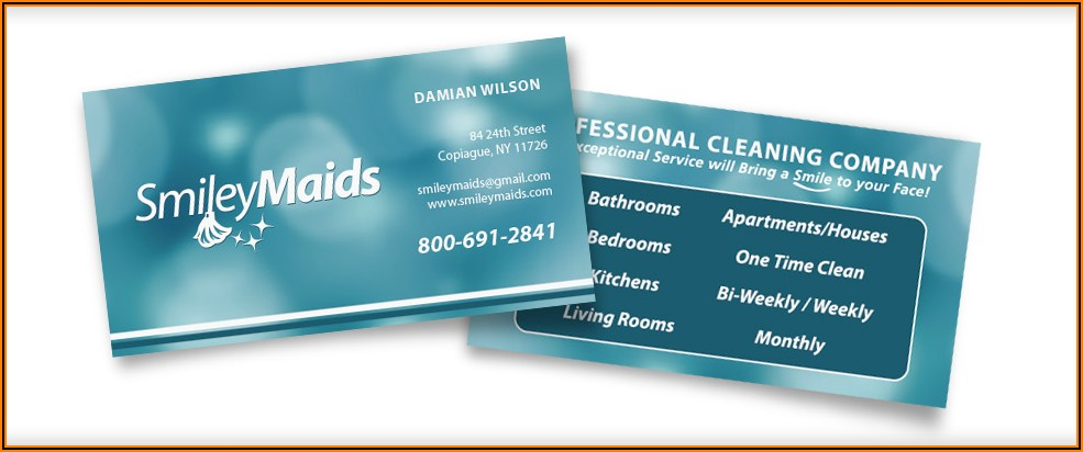 Housekeeping Business Cards Samples