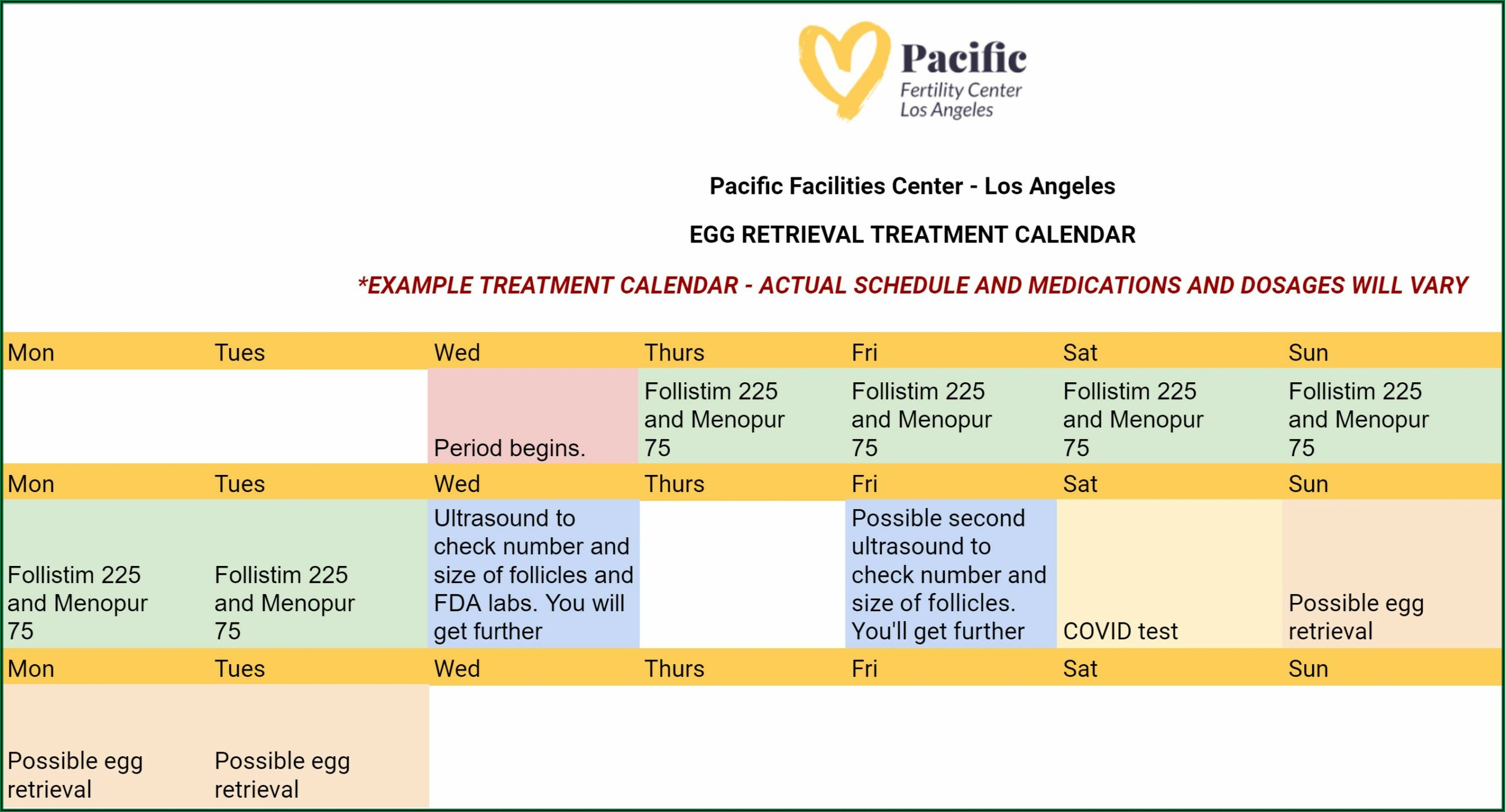 Ivf Cycle With Pgs Timeline