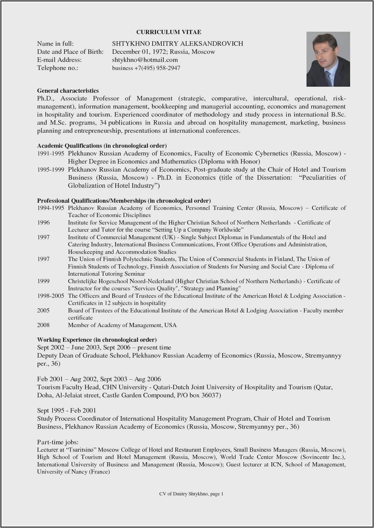Lecturer Resume Format Free Download