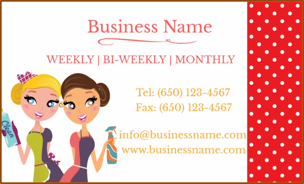 Maid Cleaning Service Business Cards