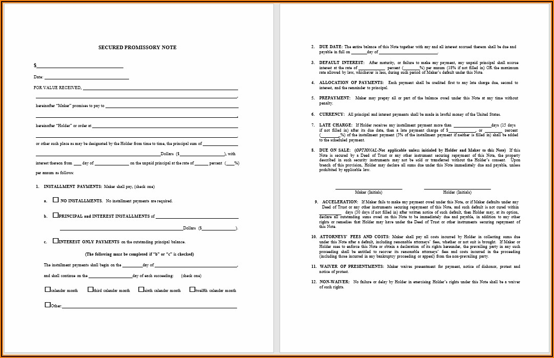 Microsoft Word Free Promissory Note Template