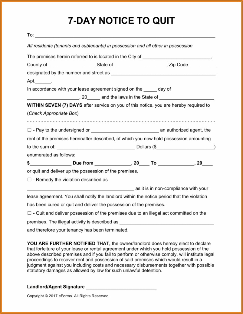 Microsoft Word Template Notice To Vacate