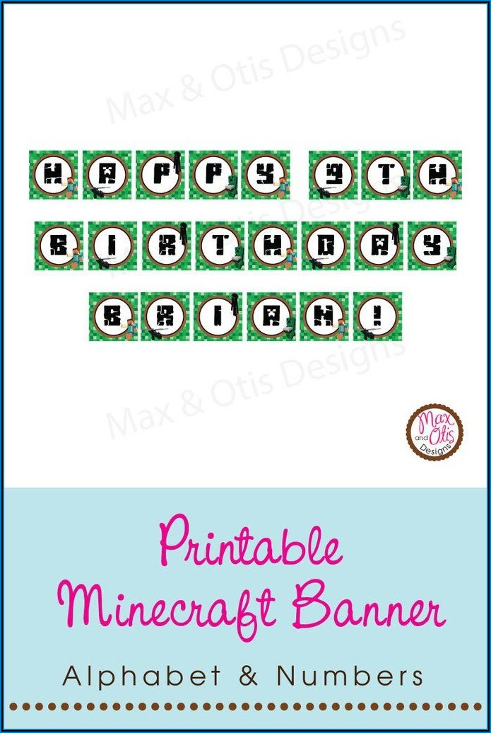 Minecraft Letters Banner Printable