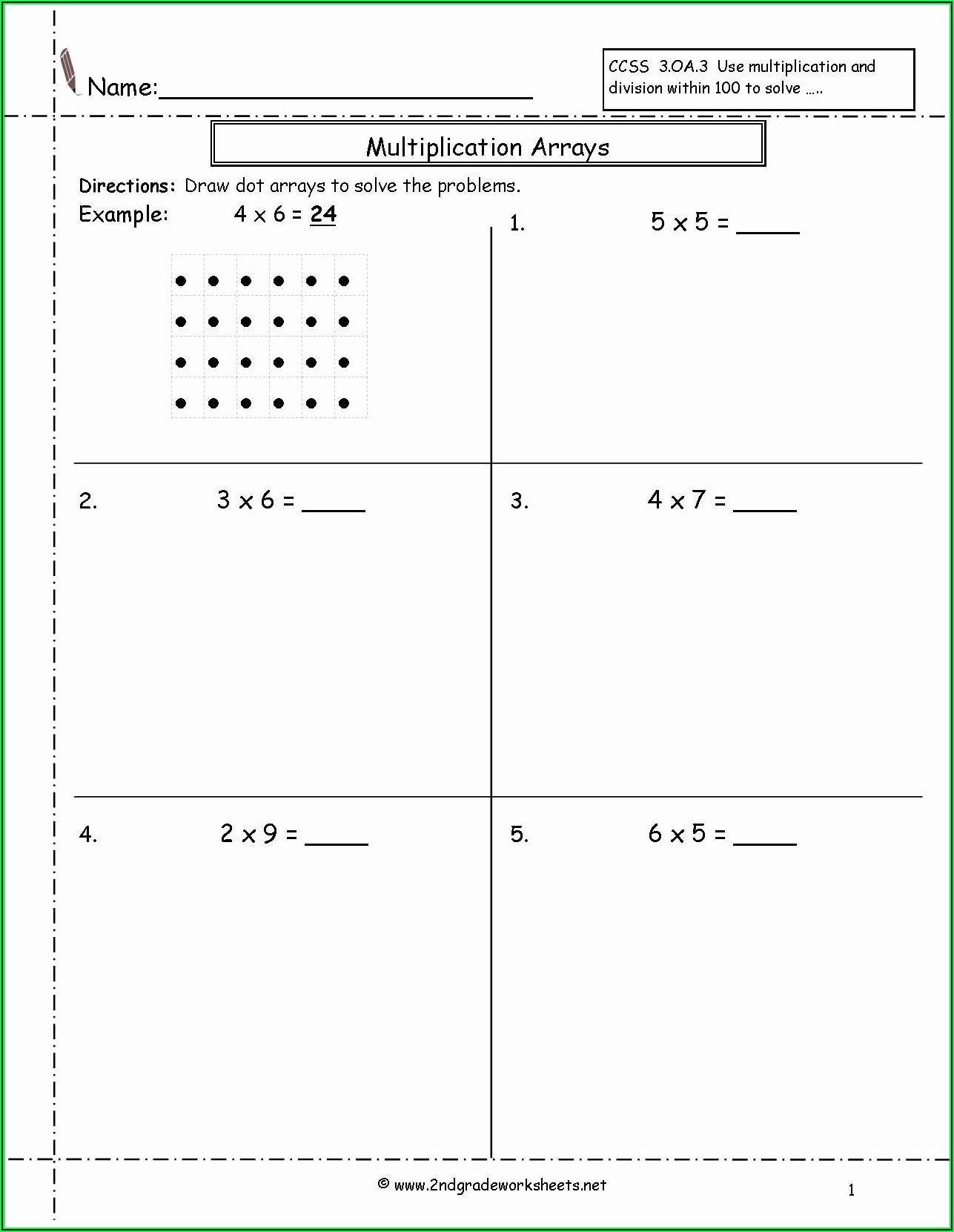 Multiplication Array Worksheets 2nd Grade