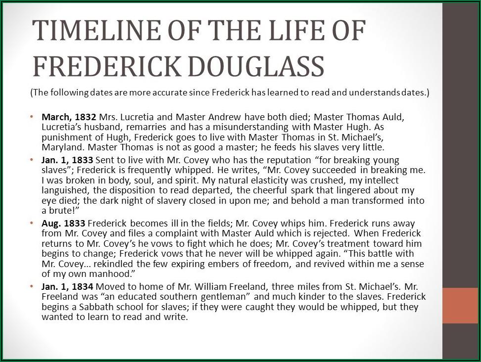 Narrative Life Of Frederick Douglass Timeline