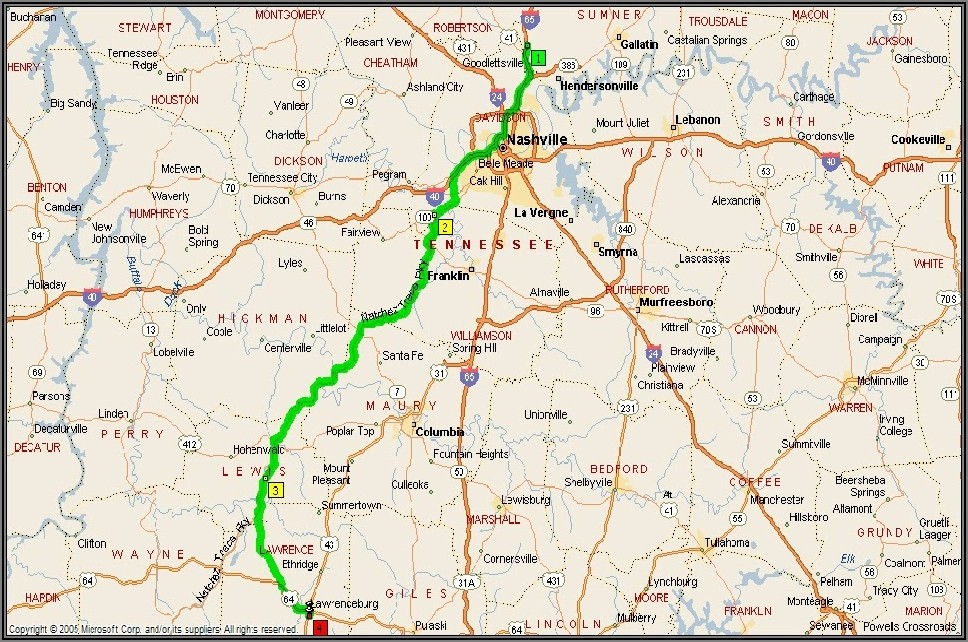 Natchez Trace Horse Trail Map
