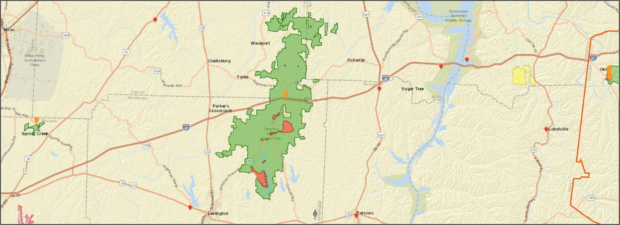 Natchez Trace Park Trail Map