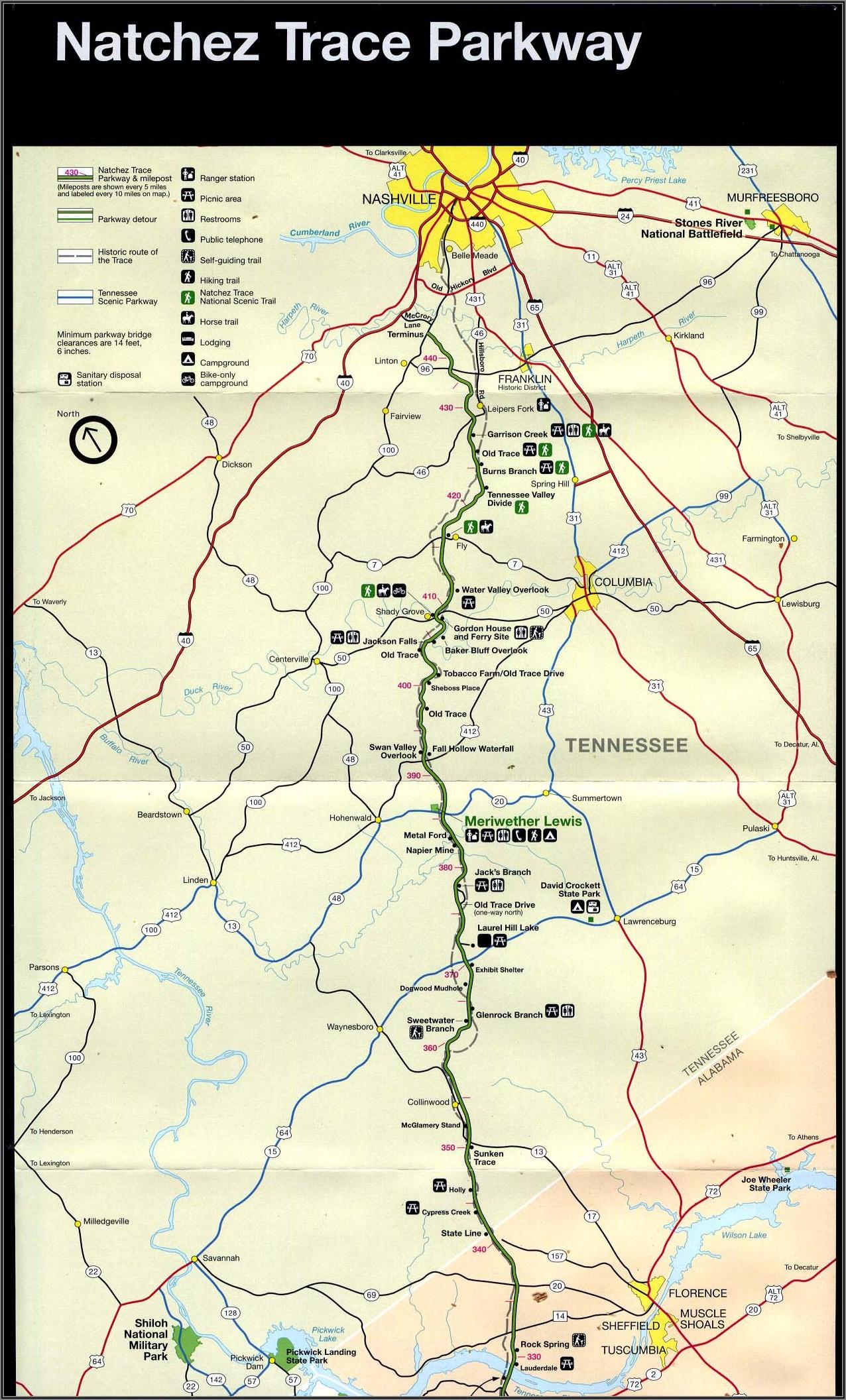 Natchez Trace Parkway Elevation Map
