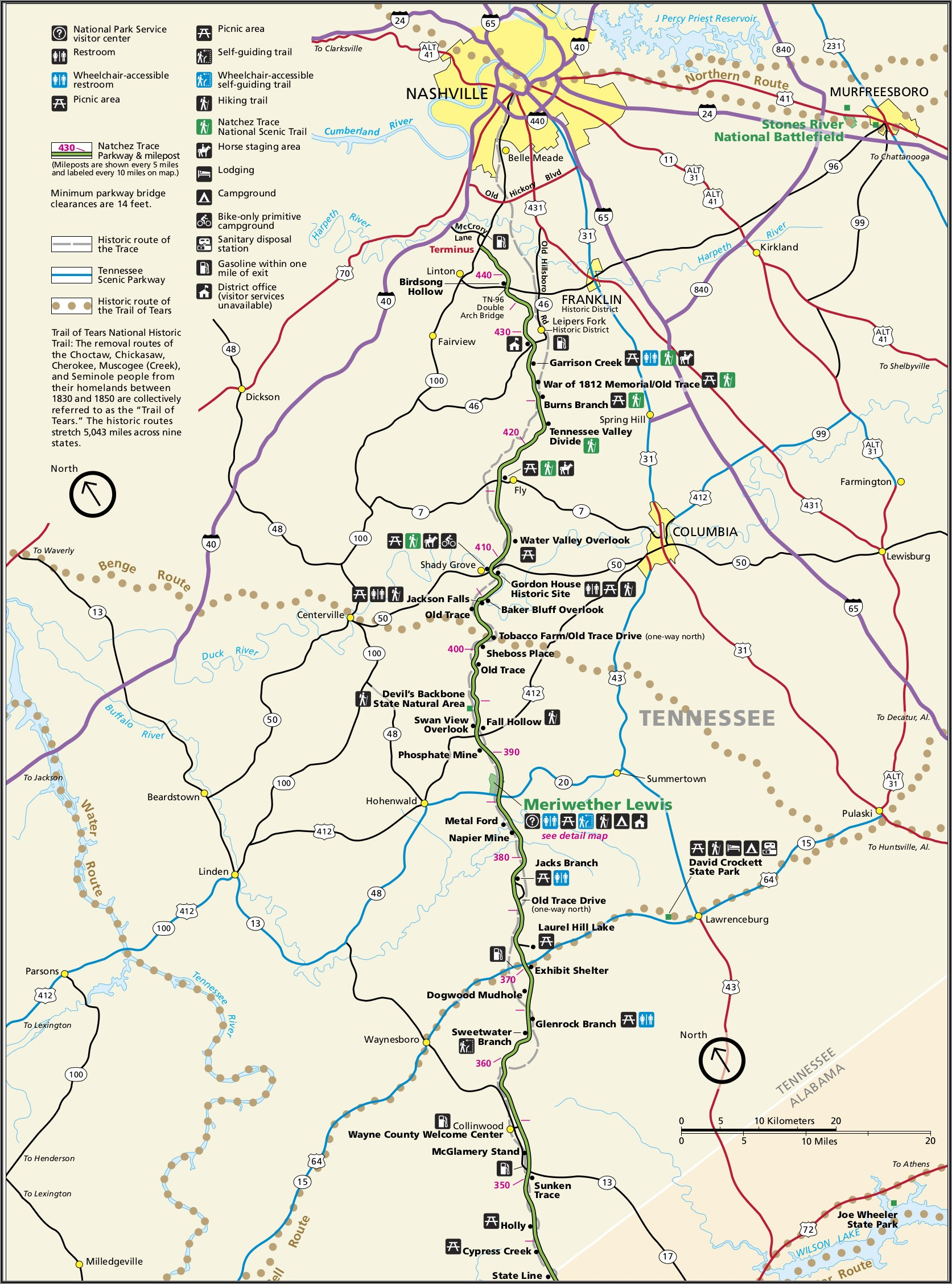 Natchez Trace Parkway Map And Guide
