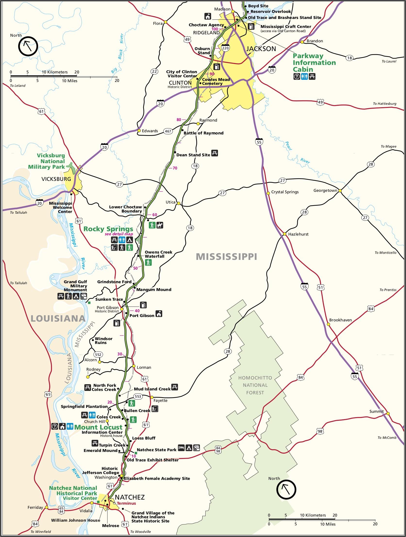 Natchez Trace Parkway Map Tn