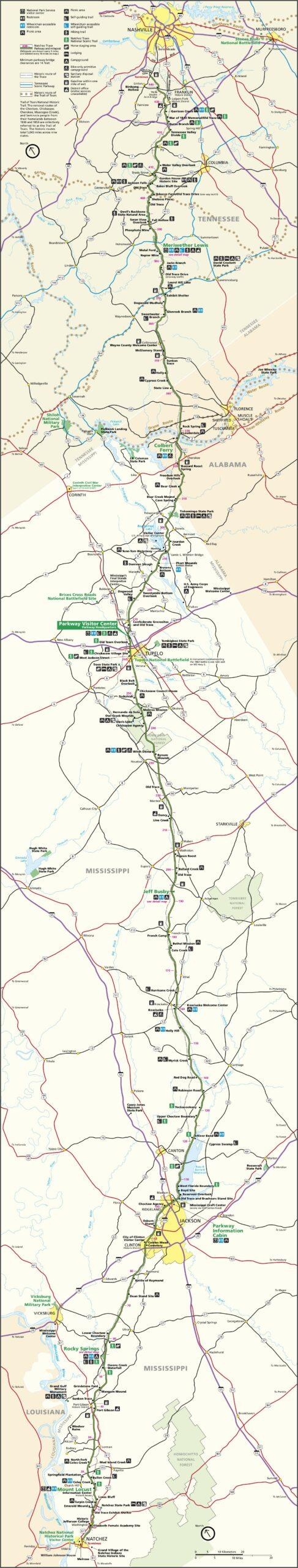Natchez Trace Trail Map Mississippi