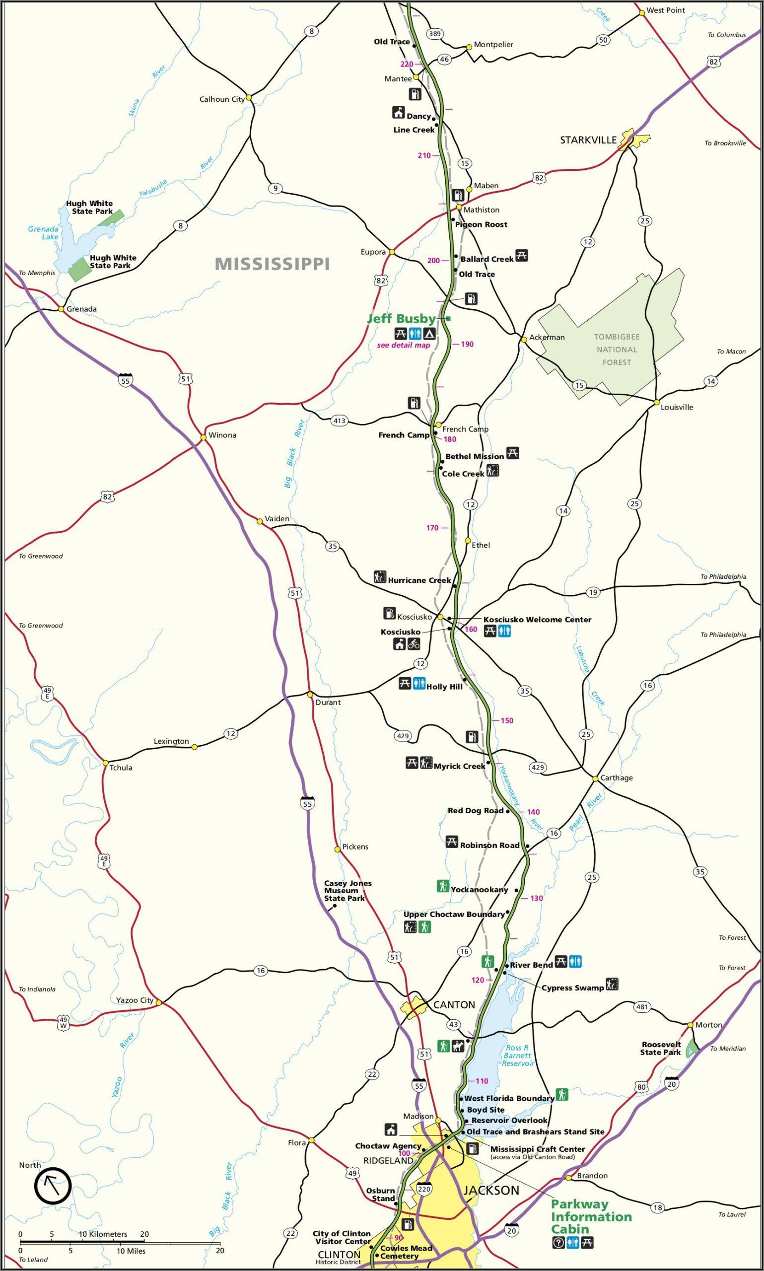 Natchez Trace Trail Map