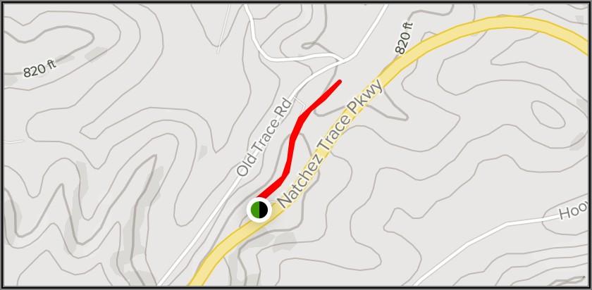 Natchez Trace Walking Trail Map