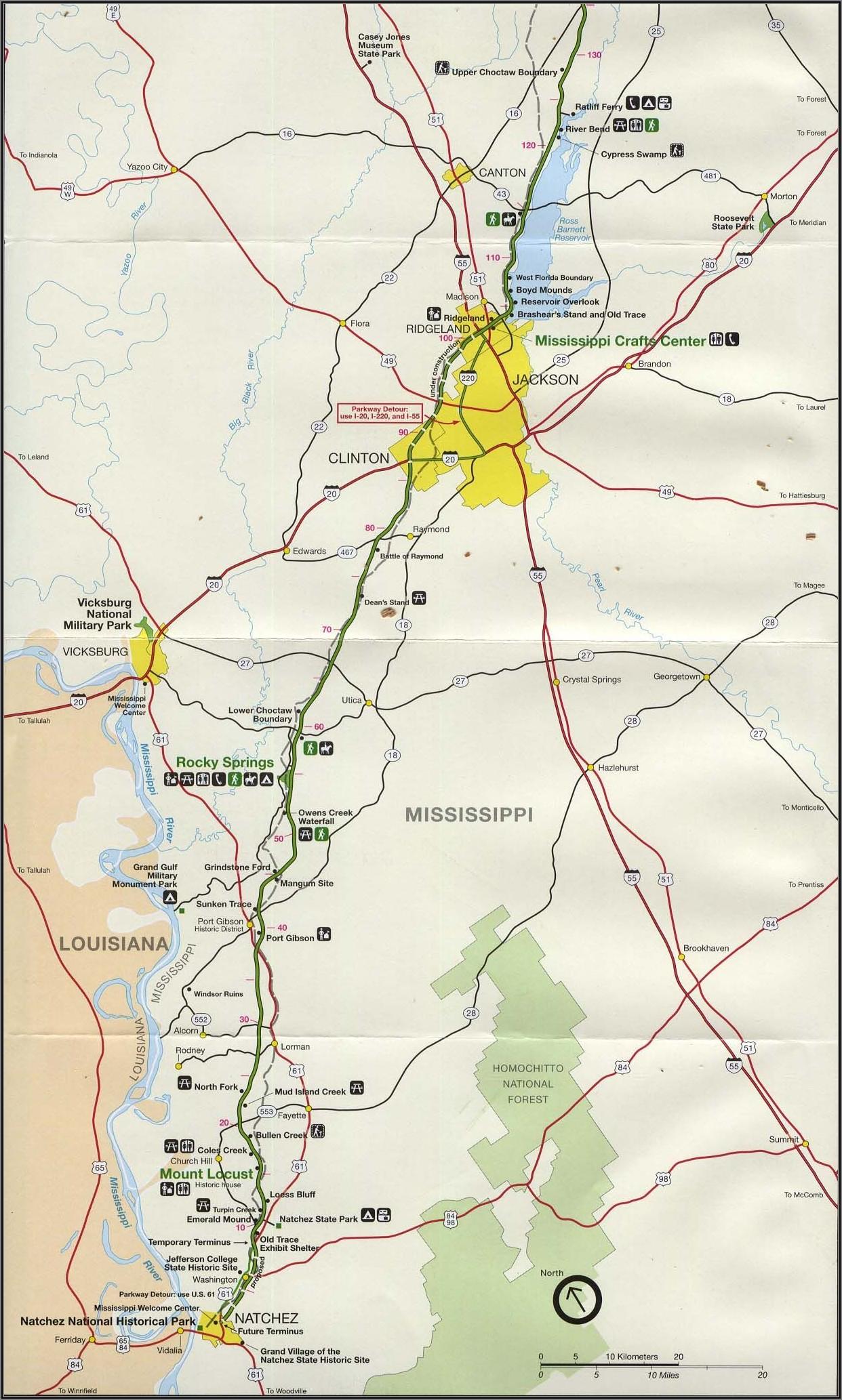 Old Natchez Trace Map